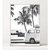 Kunstdruck / Bild RETRO BEACH -ungerahmt- Palme, tropisch, Strand, Surfen, Sommer, Bus, Reisen, vintage