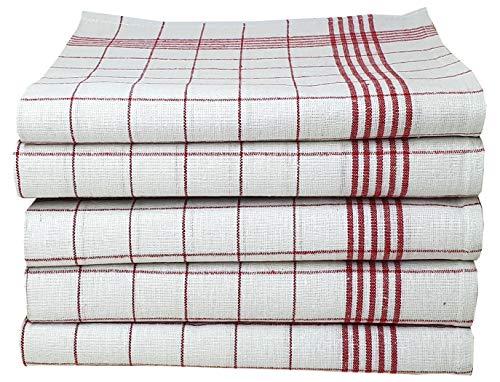 MTEXT Geschirrtücher Küchenhandtuch aus 100% Baumwolle 10 Stück Pack, 50x70 cm, 60g, blau rot grün gelb weiß karriert (Rot)