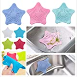 #7: RIANZ Starfish Hair Catcher Rubber Bath Sink Strainer Shower Drain Cover Trap Basin, Color May Vary