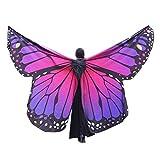 WOZOW Damen Kostümzubehör Zubehör Schmetterling Flügel Kostüm Nymphe Pixie Umhang Faschingkostüme Schals Poncho (Heißes Rosa)