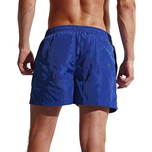 GenialES Homme Pantalons Courts Maillot de Bain Short de Bain Shorts pour Plage Natation Plongée Sèche Vite Bleu