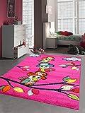 Kinderteppich Spielteppich Kinderzimmer Mädchen Teppich Papagei Pirat pink Größe 120x170 cm