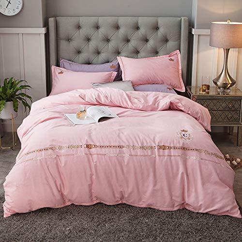 yaonuli Gebürstete bestickte Baumwolle, vierteilige Baumwolle, Nr. 3, rosa, geeignet für EIN Bett von 2,0 m Länge (Steppbezug: 220 x 240, Bettlaken: 245 x 270, Kissenbezug 2)