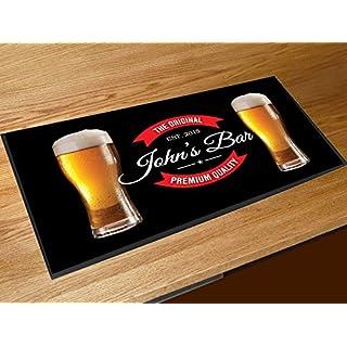 Artylicious Personalised black bar beer glasses bar runner home bar counter mat