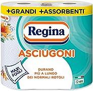 Regina Asciugoni Carta Cucina | Confezione da 2 Rotoli a 2 veli | 85 strappi per rotolo* | Maxi Fogli più Gran