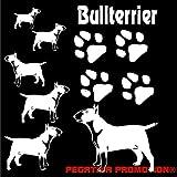 Grosses Bullterrier Bull Terrier Aufkleber-Set in DIN A 4 , 30x20 cm für Auto,Wand, Laptop,Kuche, Napf, u.alle glatten Flächen von Pegatina Promotion ® Name Hunde Hunde Pfoten Pfote ohne Hintergrund aus Hochleistungsfolie für Lack und Scheibe,Autoaufkleber, Laptop, Wandtattoo, Küche, Hund Hunde Dogs Sticker Herzlinie Hundefan