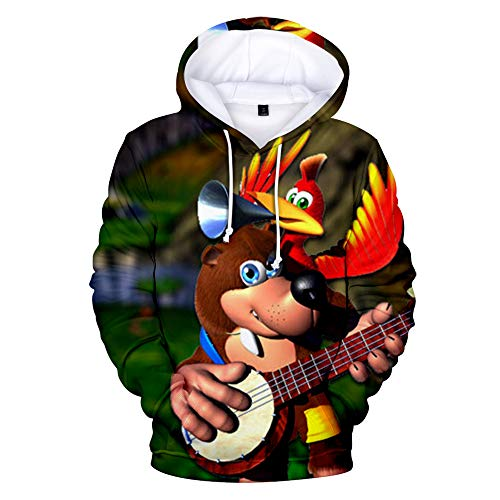 Denkqi Unisex 3D Druck Hoodie Kapuzenpullover Langarm Sweatshirt Kapuzenjacke Mit Tunnelzug Pullover Taschen Top Shirt Weihnachten Herbst Banjo Kazooie Nuts and Bolts XXXL -