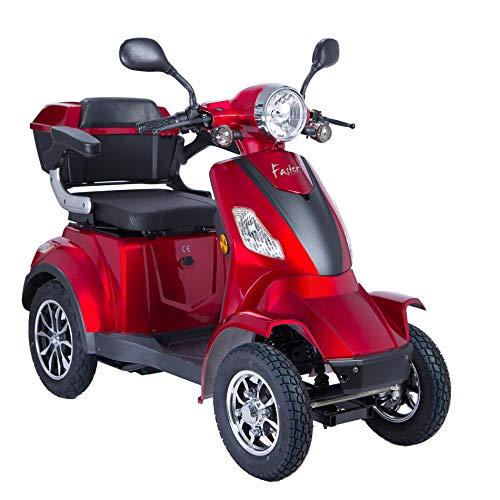 Scooter Electrico Minusvalido Moto Para Personas Mayores Vehículo De Movilidad | Scooter Electrico Adulto 4 Ruedas 1000W 25km/h (Rojo)