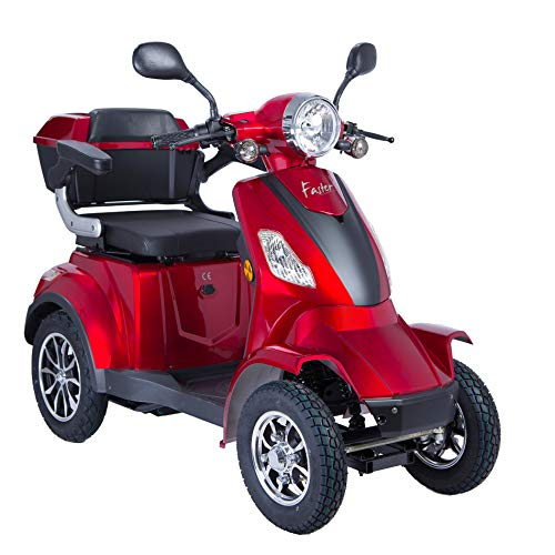 Elektroroller 4-Rad, Elektromobil für Senioren, Scooter E-Mobil, Seniorenfahrzeug, 55km 1000W 25 Km/h ... (Rot)