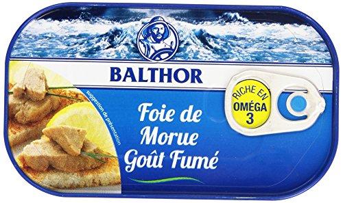 Balthor Foie de Morue Goût Fumé - Boîte de 121g - Lot de 6