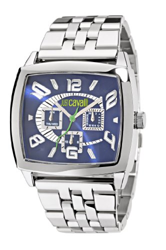 Just Cavalli Men's Watch R7253625035 In Collection Screen, Multifunction, Silver White Dial and Stainless Steel Bracelet