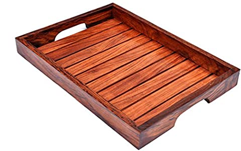 Hashcart Indian Rosewood Sheesham Wood Handmade & Handcrafted Wooden Serving Tray for Dining Tableware, Table Decor, Kitchen Serveware Dining Accessory,Breakfast Coffee Table Tray,Butler Serving