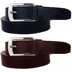 Shara Mens leather belts set of 2 combo pack (black & brown)(SHA/MENSBELTS/BBCOMBO)