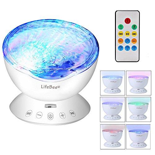 Lifebee LED-Lampe, Ozean-Projektor, Nachtlicht, 7 Modi Nachttischlampe, Melodie, Lautsprecher einstecken die Karte für Musik und Fernbedienung
