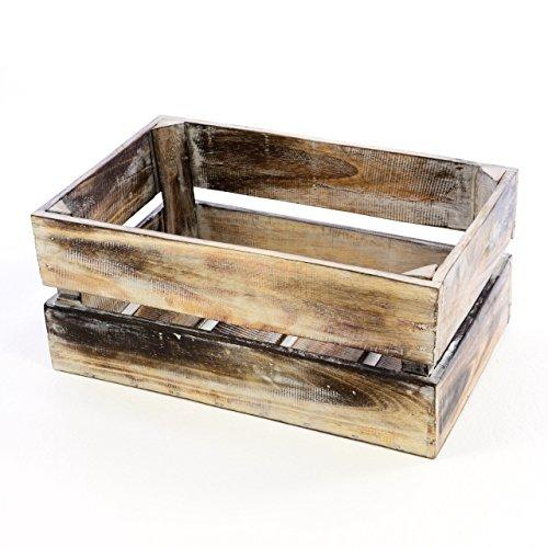 """Divero Vintage Holzkiste braun geflammt Staubox Weinkiste Obstkiste Größe """"M"""" 47 x 29,5cm/Höhe 20cm Stapelbox Spielzeugkiste Regal-Box"""