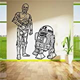 Wandtattoo Wohnzimmer Wandtattoo Schlafzimmer Star Wars R2D2 Et C3Po Droids Duo Ensemble Sticker Mural Salon Courbé Film Diy Décoration Murale