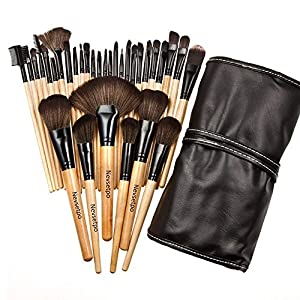 Nevsetpo Makeup Brushes 32 Piece Set Professional Make Up Cosmetics Essential Make Up Brush Set Kits with Travel Pouch (Wood)