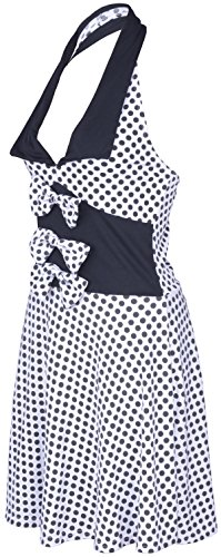 Küstenluder MABLE Polka Dots BOW Neckholder SWING Kleid Rockabilly - Weiß -