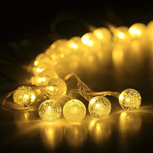Innoo Tech Lichterkette 40er LED 4,6 Meter Globe kristallkugeln mit Batteriehalter Innen und Außen Beleuchtung Kugel für Party, Deko, Feiern, Garten, Terrasse, Hof, Haus, Weihnachten, Zimmer Warmweiß