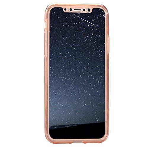 iPhone X 360 Grad Hülle, iPhone X Hülle Glitzer, Ultra Dünn Liquid Crystal Glänzende Soft-Flex Handyhülle Bumper Style Premium TPU Silikon Perfekte Passform Schutzhülle iPhone X (5,8 zoll) Case Cover  Farbe 04