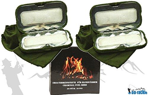 DD Pack 2-Calentador de Manos de bajo Tackle + 20Combustión lápices Funda Horno