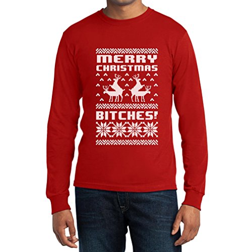 Frohe Weihnachten Bitches Langarm T-Shirt Rot