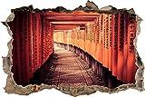 Pixxprint 3D_WD_S2382_62x42 Japanischer Gebetsgang im Tempel Wanddurchbruch 3D Wandtattoo, Vinyl, Bunt, 62 x 42 x 0,02 cm