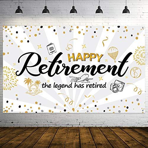 Happy Retirement Party Dekorationen, Extra Großer Stoff Schwarz Gold Zeichen Poster für Retirement Party Lieferungen, Happy Retirement Banner Photo Stand Hintergrund Banner (Dekorationen Retirement Party Für)