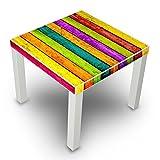 banjado - Beistelltisch Design Tisch 55x45x55cm Wonhzimmertisch weiß mit Motiv Bunte Holzlatten