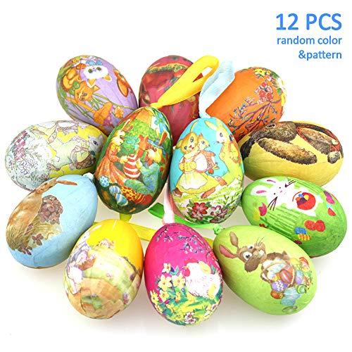 Sunarrive decorare uova di pasqua | decorazioni pasquali da appendere | addobbi per pasqua | uova di cartapesta | ovetti di pasqua | albero di pasqua decorazioni, 12 pezzi