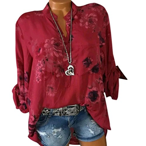 Kobay Damen Übergröße Chiffon Blumenmuster Lange Ärmel Kragen Bluse Pullover Tops Shirt(XXXXX-Large,Rot) (Baumwolle Ärmel Stehkragen Lange)