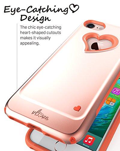 iPhone 7custodia, Vena [Vlove]] cuore-figura | a doppia protezione antiurto per Apple iPhone 7(11,9cm cm) (oro rosa/corallo rosa) Rose Gold/Coral Pink