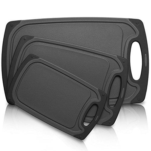 Exitoso Schneidebrett Premium Set 3-teilig, grau schwarz Kunststoff, Rutschfest mit Saftrille und Griff, Spülmaschinengeeignet, Antibakteriell
