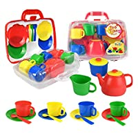 Vinsani® Childrens Kids 15 Piece Red Portable Plastic Tea Set Includes Carry Case for Age 3 and Over