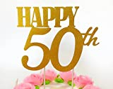 Gold glitter 'Happy ° compleanno topper per torta-Forever 50party Favors-° compleanno party decorazione