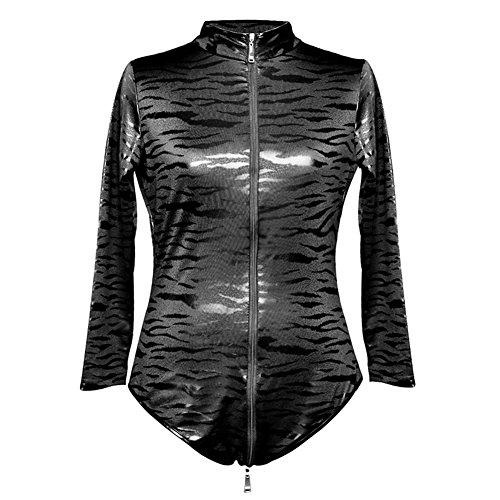 Frauen Onesies, Reißverschluss Crotchless Schwarz Leopard Leder Overall Porno Bodysuit Lady Clubwear Sexy Dessous Fetisch Kostüm xxl
