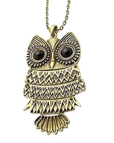 Shining Diva Fashion Antique Gold Vintage Owl Pendant Necklace For Girls Women