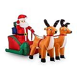 oneConcept X-Mas X-Press • aufblasbarer Weihnachtsmann • Rentiere • Schlitten • Weihnachtsdekoration • Garten- oder Hausdekoration • innen oder aussen • LED Beleuchtung • selbstaufblasend • 240 cm • sicherer Stand • Erdnägel • bunt