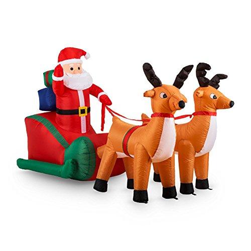 Oneconcept x-mas x-press • babbo natale gonfiabile • renne • slitta • decorazione natalizia • giardino o decorazione casa • all'interno o all'esterno • illuminazione a led • autogonfiabile • 240 cm • stabile • chiodi da fissaggio • colorato