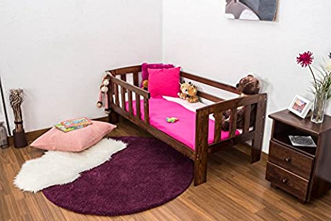Kinderbett mit Absturzsicherung Kiefer Vollholz massiv Nussfarben A17, inkl. Lattenrost - Abmessung 70 x 160 cm