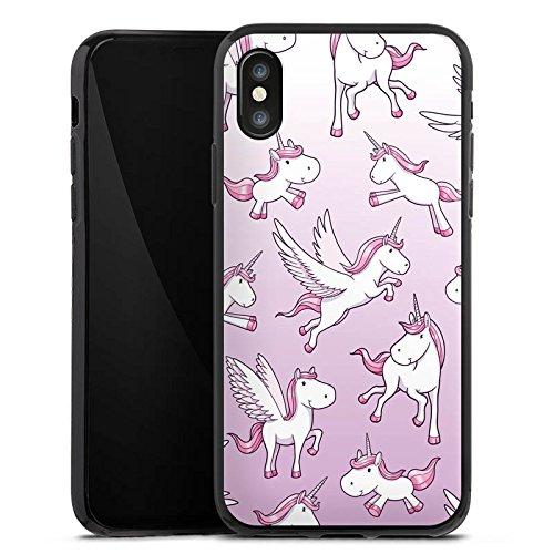 Apple iPhone X Silikon Hülle Case Schutzhülle Einhorn Unicorn Pferde Girls Silikon Case schwarz