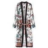 Tefamore La Ceinture des Femmes Bandage Châle Imprimer Kimono Cardigan Top Cover Up Chemisier Beachwear(M,Vert)