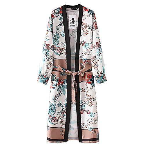 Tefamore La Ceinture des Femmes Bandage Châle Imprimer Kimono Cardigan Top Cover Up Chemisier Beachwear(L,Vert)