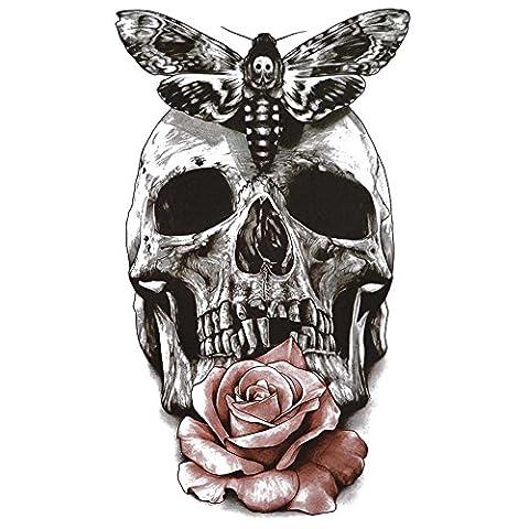 COKOHAPPY Grand Temporaire Tatouage Crâne Papillon Rose