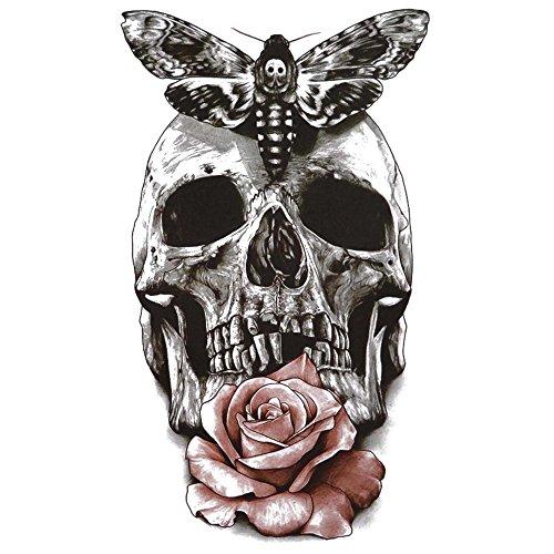 COKOHAPPY Groß Temporäre Tattoo Schädel Schmetterling - Halloween-make-up Von Hand Leicht