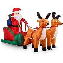 Weihnachtsmann auf Rentier Dekofigur Weihnachtsdeko Schnee Weihnachten xmas