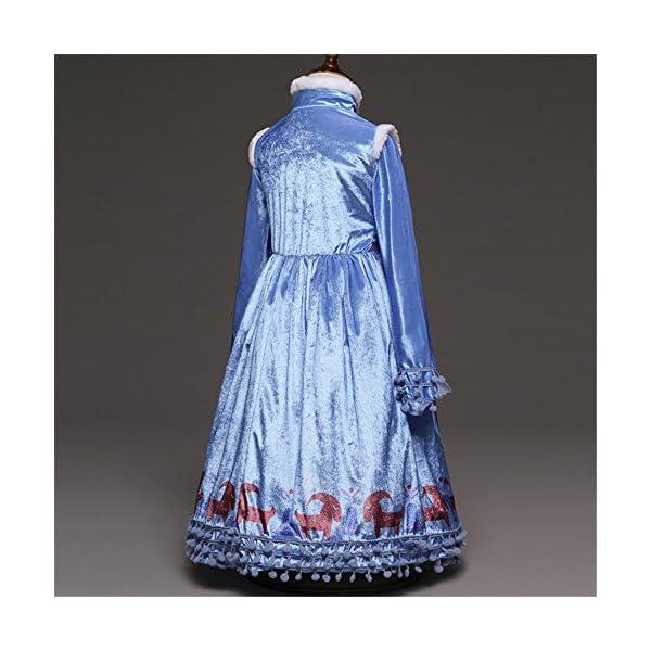 Principessa Girls Blu Snow Elsa Queen Costume Cosplay Operato dal Partito Ragazze Abito da Sposa con la Disposizione… 4 spesavip