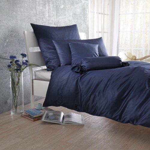Bettwaren-Shop Uni Mako-Satin Bettwäsche navy Bettbezug einzeln 135x200 cm