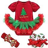 Tiaobug Baby Mädchen Bekleidung Set Langarm Weihnachten Strampler Stirndband Schuhe Beinwärme Weihnachtskostüm Kurzarm Strampler 3-6 Monate