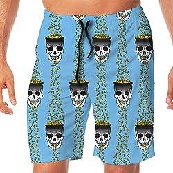 OOworld Hombres pantalones cortos de playa doradas azules secado rápido con bolsillos
